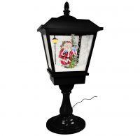 Schneiende LED Tischlaterne in schwarz / Motiv Santa