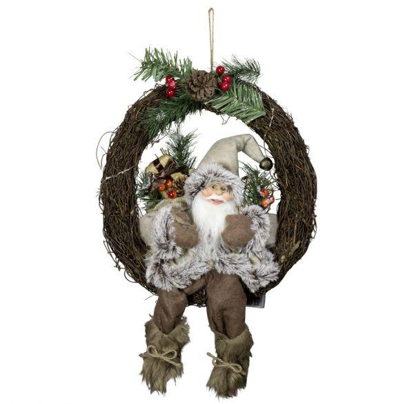 Weihnachtsmann 30cm Türkranz mit LED