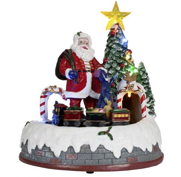 Animierte Spieluhr LED & Musik Weihnachtsbaum mit Zug 24cm