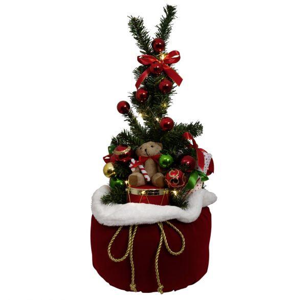 Geschenkesack Rot 65cm mit LED
