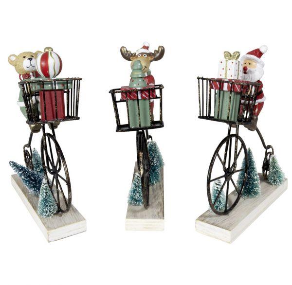 Figur auf Fahrrad 16cm, 3 Designs, 3 Stück