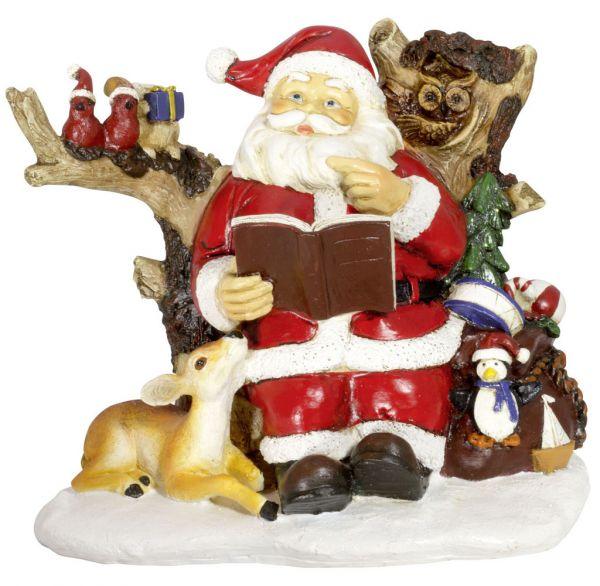 Deko Weihnachtsmann 18cm mit Reh