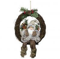 Weihnachtsmann im Türkranz, Größe ca.30cm, warmweißes LED Licht